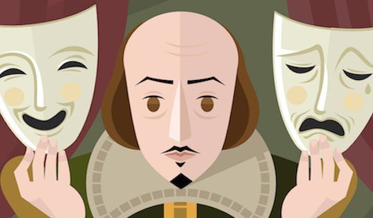 Shakespeare with two theatre masks - happy and sad - choose your personal